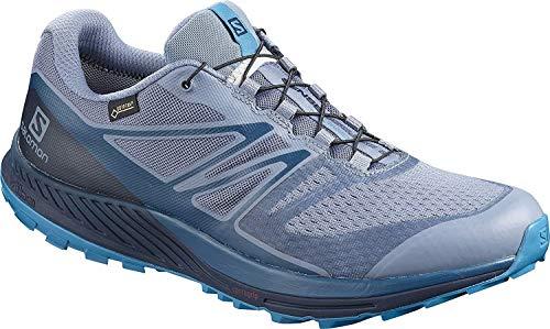 Salomon Homme Chaussures de Trail Running, SENSE ESCAPE 2 GTX, Gris/Bleu (Flint Stone/Navy Blazer/Fjord Blue), Pointure: 44 2/3