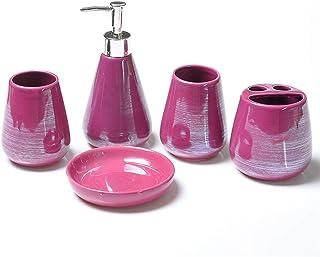 バス用品浴室用ラック シンプルな5ピースセラミックバスルームアクセサリーセット、バスルームアクセサリーセットには石鹸ディスペンサー、石鹸料理、歯ブラシホルダーが含まれています 浴室セットアクセサリー (Color : Purple)
