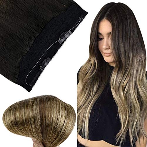 Fshine Halo Extensions Remy Human Hair Crown on Hair Invisible Halo Color 1B Off Black Fading to 6 and 27 Honey Blonde Balayage Ombre 70g 14 Inch