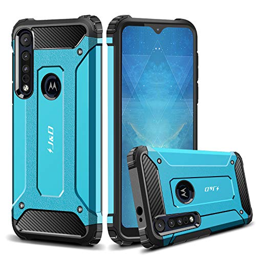 JundD Kompatibel für Motorola One Macro Hülle/Motorola G8 Play Hülle, [ArmorBox] [Doppelschicht] [Heavy-Duty-Schutz] Hybrid Stoßfest Schutzhülle für Moto One Macro, Moto G8 Play Handyhülle - Blau