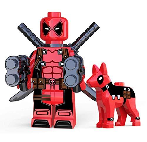 Deadpool W/ Dog Kawaii Mini Figure X-Men Series Marvel Superhero Comic Book Character Movie Red & Black