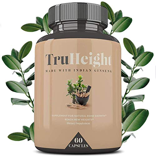 """TruHeight - Powerful Growth Formula - Natural Bone Strength Support - Healthy Growth Supplement - Keto & Vegan with Indian Ginseng """"Ashwaganda"""" & Nanometer Calcium - For Ages 5+"""