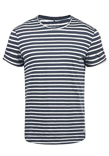 Blend Genesis Herren T-Shirt Kurzarm Shirt Streifenshirt Mit Streifen Und Rundhalsausschnitt, Größe:S, Farbe:Mood Indigo Blue (74648)
