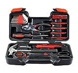 Casals HH39 - Set herramientas 39 piezas (puntas de atornillar, llaves hexagonales, destornilladores de precisión, martillo, metro, tijeras, alicates de pato, cutter) color naranja y negro