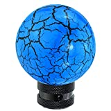 Lunsom Round Shift Knob Ball Gear Stick Marble Pattern Shifter Handle Head Fit Most Automatic Manual Transmission Car (Blue)