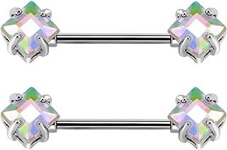 Square Cubic Zirconia Nipple Rings 14G 316L Stainless Steel Nipple Piercing Barbell