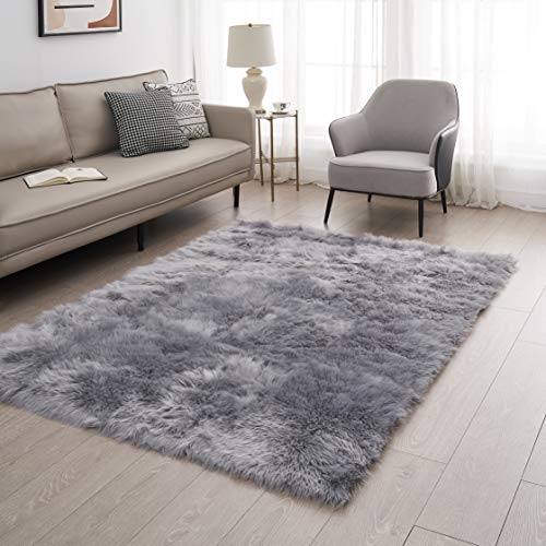 Funseed Soft Faux Fur Rectangle Area Rug