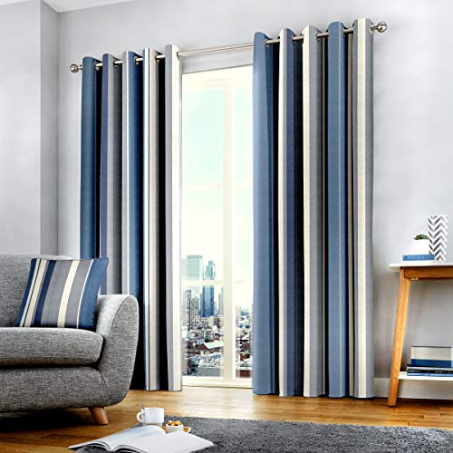 "Fusion Cojín de Rayas Whitworth, 100% algodón, Forro: 52% poliéster y 48% algodón, Azul, Curtains: 66"" Width x 90"" Drop (168 x 229cm)"