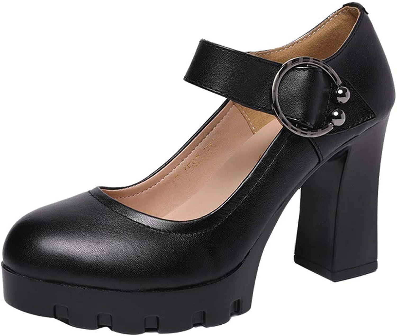 Women's Platform shoes Spring & Fall Lady's Fashion shoes Dress shoes Buckle shoes Wedding Party & Evening Black (color   Black, Size   35)