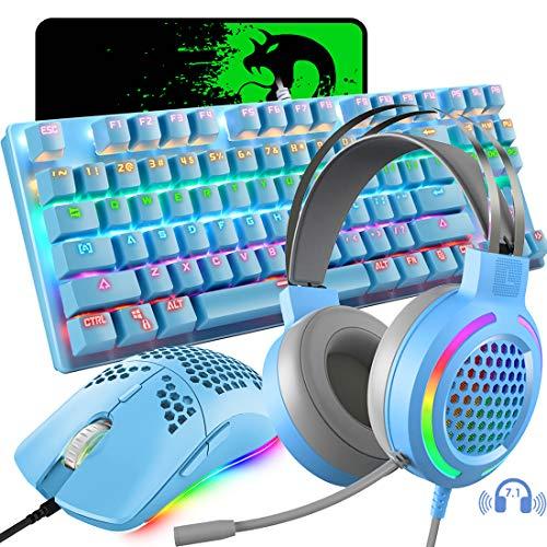 Teclado mecánico para juegos, ligero jack de 3,5 mm con micrófono, programable 6400 DPI de carbón con cable para juego, ratón (azul)