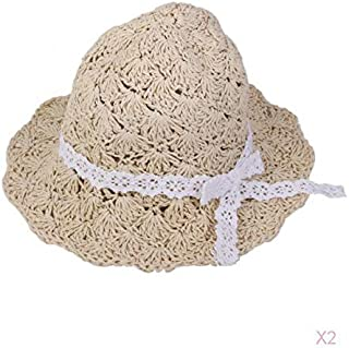 Generic Sweet Girl Kids Children Toddler Bowknot Sun Cap Straw Hat Beige