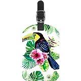 Ave Flor Hoja Etiquetas de Equipaje Lindo Cuero Personalizado con Lazo para Bolsa de Maleta de Viaje casmonal para Mujeres, Hombres y niños 11.4x7.1cm