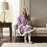 Comfort Spaces Glimmersoft Plush to Sherpa Pocket Hooded Angel Wrap Ultra Soft Wearable Poncho Blanket Throw, 58 in x 72 in, Lavender