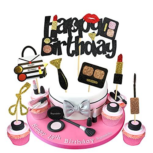 Regendeko Happy Birthday Lady Mädchen Schwarzgold Lippenstift Tortendeko Schminke Kuchendekoration Cupcake Toppers Geburtstagskuchen Deko
