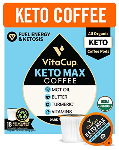 Organic Keto Max Dark Roast Coffee Pods w/ Butter, Coconut MCT Oil, Turmeric, B Vitamins, & D3 by VitaCup for Ketosis & Energy, Single Serve Pod Compatible w/ K-Cup Brewers including Keurig, 18 CT