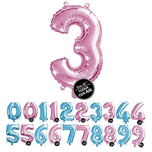 Haioo Globo Número de Cumpleaños en Metalizado Ideal para Fiesta de cumpleaños y Aniversarios Hinchable y Deshinchable (Rosa 3)