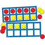 EAI Education Jumbo Magnetic QuietShape Foam Ten Frames with Counters - Set of 2 with 20 Counters