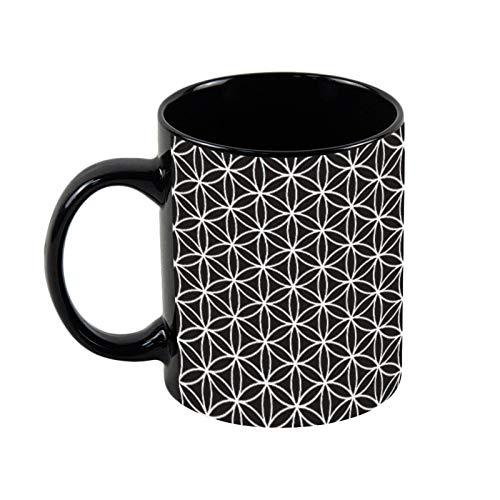 Flower of Life Big Ptn - Taza de café negra y blanca con diseño de flor de vida, 325 ml, taza de café y té de cerámica, regalo de Navidad para ella, regalo de amigo