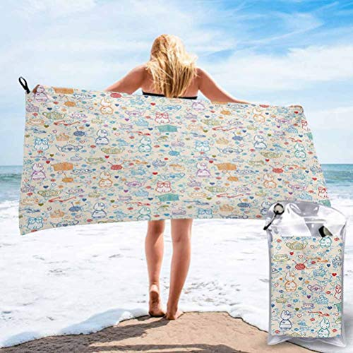 Ahuimin Microfiber Beach Towel, Quick Dry Pool Towels, Pattern with Cute Pastime Things Baby Bunny Tea Glasses Balls of Yarn and Needles 2.3' x 4.6' Best for Gym Travel Camp Backpacking