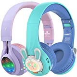Riwbox WT-7S&RB-7S Kids Headphones Wireless, Bundle 2 Packs Foldable Stereo Bluetooth Headset with Mic and Volume Limited for PC/Laptop/Tablet/iPad (Purple&Blue)