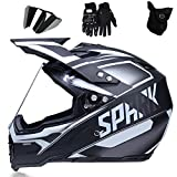 QYTK Casco Integrales Motocross Hombre Gris Blanco, Off-Road Casco Moto Cross con Guantes Mascarilla y Desmontable Gafas Visera Casco Motocicleta para Mujer ATV MTB Seguridad,L