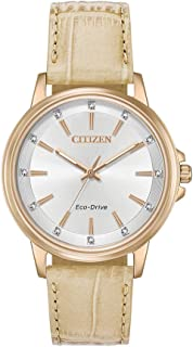 Citizen Women's Solar Powered Wrist watch, Leather Strap analog Display and Leather Strap, FE7033-08A