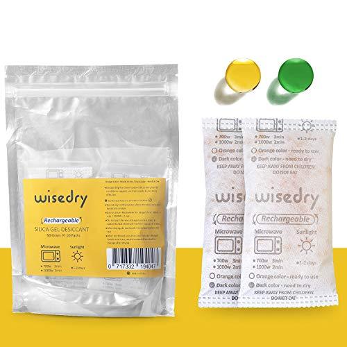 Wisedry 50 Gram [10 verpakkingen] Silicagel Droogmiddelpakketten Magnetron Snel reactiveren Droogmiddelzakken met indicatiekralen voor kast Pistoolkluizen Badkamer Food Grade