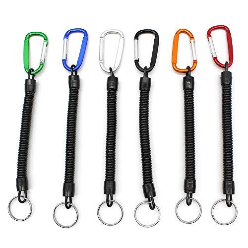 6 Piezas Llavero Cuerda de Pesca Espiral elástico Accesorios Clave ,14cm(Mosquetón de Color)