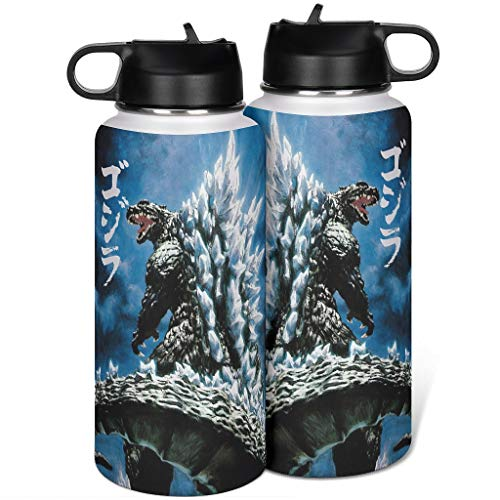 Cyliyuanye Godzilla Insulated Sports Water Bottle with Straw Lid Wide Mouth Thermo Mug white 1000ml