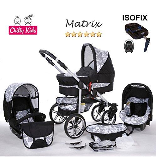 Chilly Kids Matrix II Kinderwagen en kinderstoel Veiligheid Zomerset (parasol, autostoel & ISOFIX ondergrond, regenhoes, muskietennet, zwenkwielen) 63 Zwart & Grafiet bloemen