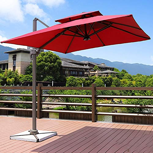 Winter Parapluies d'extérieur, couvertures de Parapluie de marché de Parapluie de Patio, utilisés dans Les Jardins, Les terrasses, Les arrière-Cours, Les piscines et Les plages (Rouge)