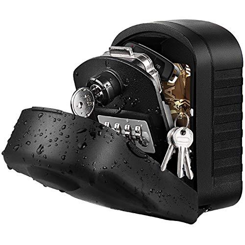 Caja Seguridad Llaves Grande Caja Llaves Combinacion Key Safe Box with 4 Dígitos Código, Almacenamiento Seguro para Llaves Caja Guarda Llaves Pared para Exterior, Casa, Garaje, Escuela (negro)
