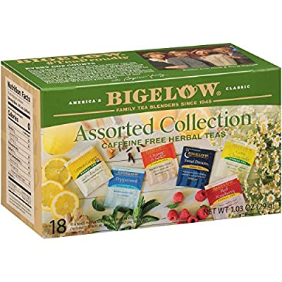 Bigelow Collection Herbal Tea Bags, 18 Count Box (Pack of 6) Caffeine Free, 108 Tea Bags Total (Packaging and Flavor Assortment may vary)