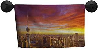 Sky,Gym Towel Urban Theme Cityscape of Kuwait Skyline at Sunset and Skyscrapers Digital Print Fast Drying Fitness Hand Towels W 14
