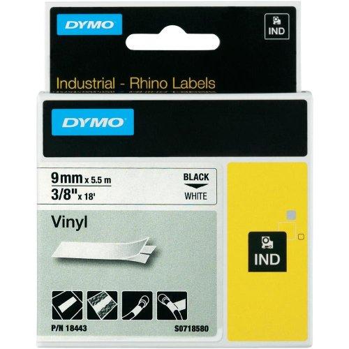 Dymo 18443 Rhino-Industrie-Vinyletiketten (Rolle 9 mmx5,5m, schwarzer Druck auf weißem Untergrund, selbstklebend)