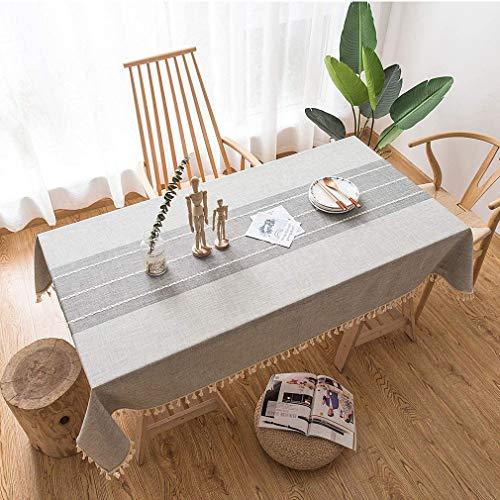 Lifetooler Waschbare Tischdecke aus Baumwollleinen mit Quastenmuster staubdichte rechteckige Tischdecke zur Tischdekoration (Grau Streifen,Rechteckig/Oval,140x180cm,4-6 Sitze)
