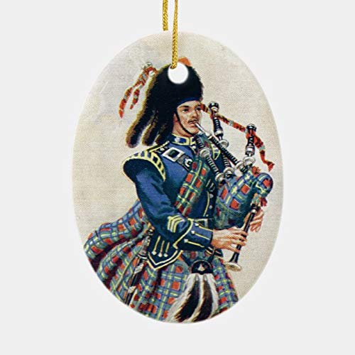 happygoluck1y Vintage Scotland, Follow The Bagpipes Ornament,Oval Porcelain Christmas Ornaments,Christmas Tree Decoration Ornaments,2020 Quarantine Gifts,Keepsake Ornaments,for Kids