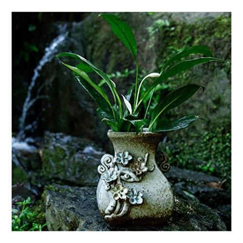 Florero de cermica vintage, manualidades creativas para la decoracin del hogar - Hecho a mano - Talla de flores,...