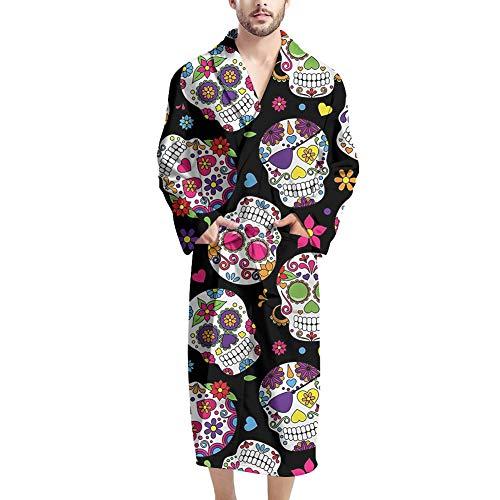 Woisttop Bademantel für Herren – hochwertiger Herren-Bademantel aus saugfähigem Frottee mit 2 Taschen, Gürtel, Candy Skull, Einheitsgröße