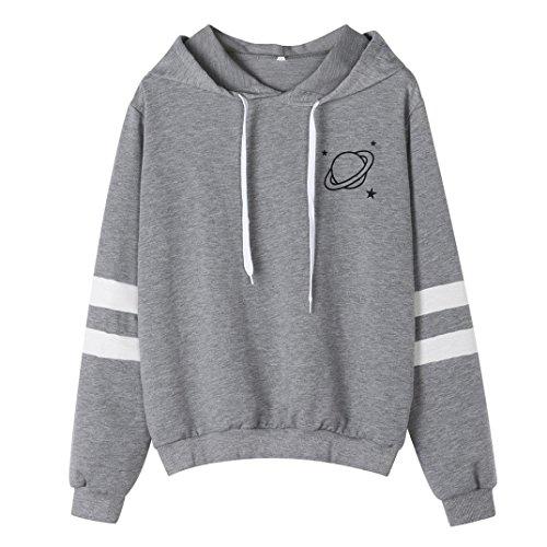 Women Hoodies, Shybuy Women's Girls Casual Long Sleeve Tops Fashion Striped Plain Pullover Hooded Sweatshirt (Gray, M)