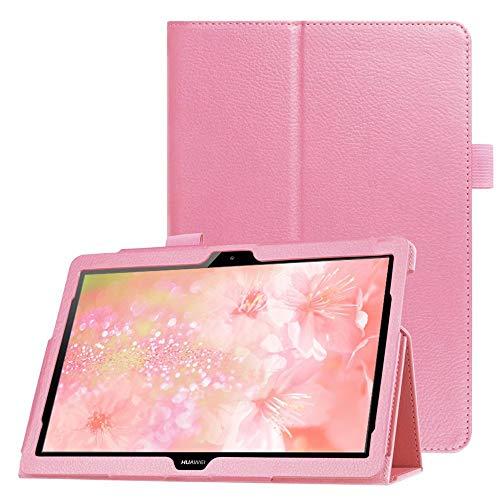 FAN SONG Custodia per Huawei MediaPad T5 10 Cover - Ultra Sottile Leggero in Pelle PU Protettiva Supporto Custodia con Tasca delle Carte per Huawei MediaPad T5 10.1Pollici 2018 Tablet - Rosa