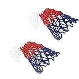 SUPEROK Red de Baloncesto, Red de Baloncesto Profesional Multicolor Duradera,Red de Baloncesto de 12 Bucle, Se Adapta a un aro de Baloncesto para Interiores o Exteriores (Blanco/Rojo/Azul 2 Piezas)