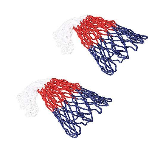 SUPEROK Basketballnetz,Robustes,wetterfest,strapazierfähig,Dauerhaft und Alle Wetter Ballnetz passt Standard Indoor oder Outdoor Basketball Hoop Weiß/Rot/Blau 2 Stück(12 Schleifen)