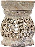 LAMPADA in pietra ollare - portacandela e diffusore di olio essenziale - design artistico liane Artigianato indiano Arredamento casa Profumazione ambienti