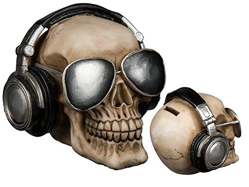 Preis am Stiel Spardose ''Totenkopf mit Kopfhörer & Sonnenbrille'' | Geschenk für Männer | Spardose für Kinder | Sparschwein | Totenkopf Deko | Sparbüchse | Geldbüchse | Geschenk für Freunde