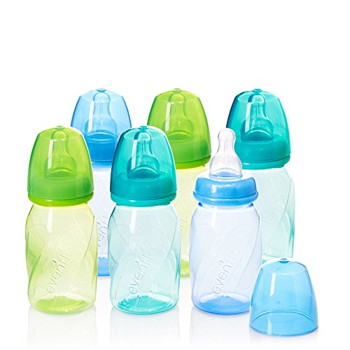 Evenflo Feeding Premium Proflo Vented Plus Polypropylene Baby, Newborn and Infant Bottles - Helps Reduce Colic - Teal/Green/Blue, 4 Ounce (Pack of 6)