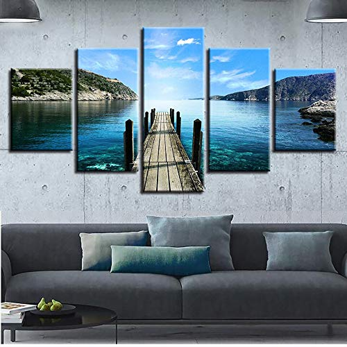 hllhpc Canvas Decor Wall Art Print Lake Bridge Mountain And Blue Sky White Cloud Scenery Painting Modular Poster Picture (30x40 30x60