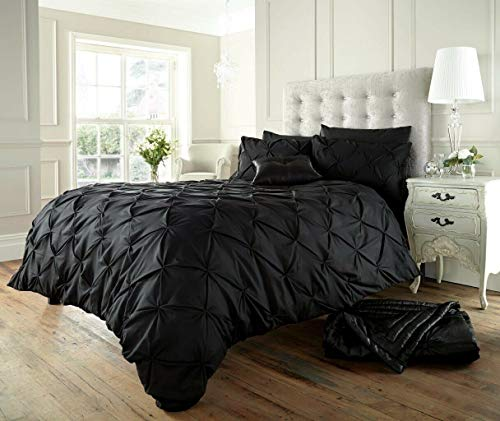 [hachette] PINTUCK DUVET COVER BEDDING BED SET WITH PILLOWCASES (Black, Double)