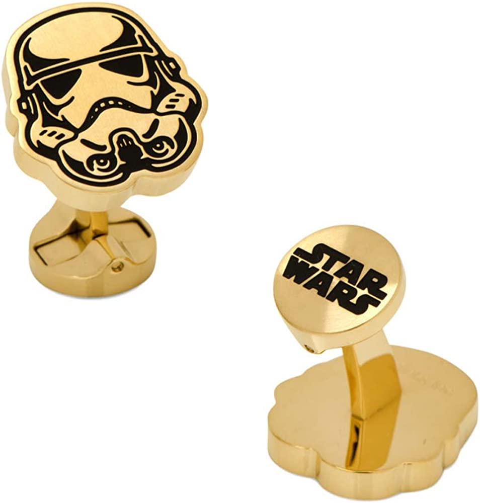 Cufflinks Stainless Steel Black and Gold Stormtrooper