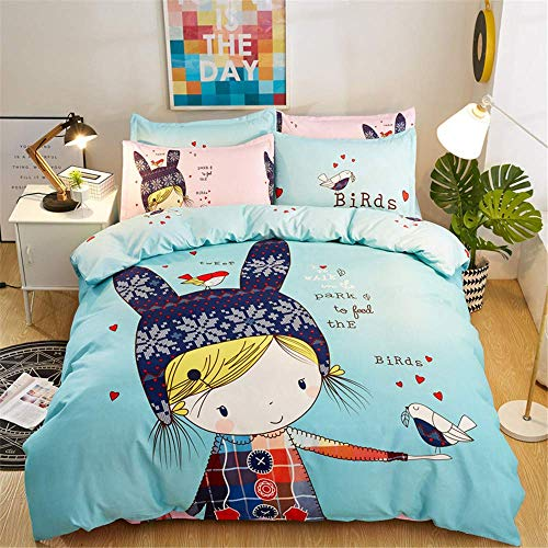 352 FUKAN Reactive Printing Bedding Sets Thicken Duvet Cover Pillowcase Bed Sheet Queen King Size Home Textile E 200x230cm/79x91in